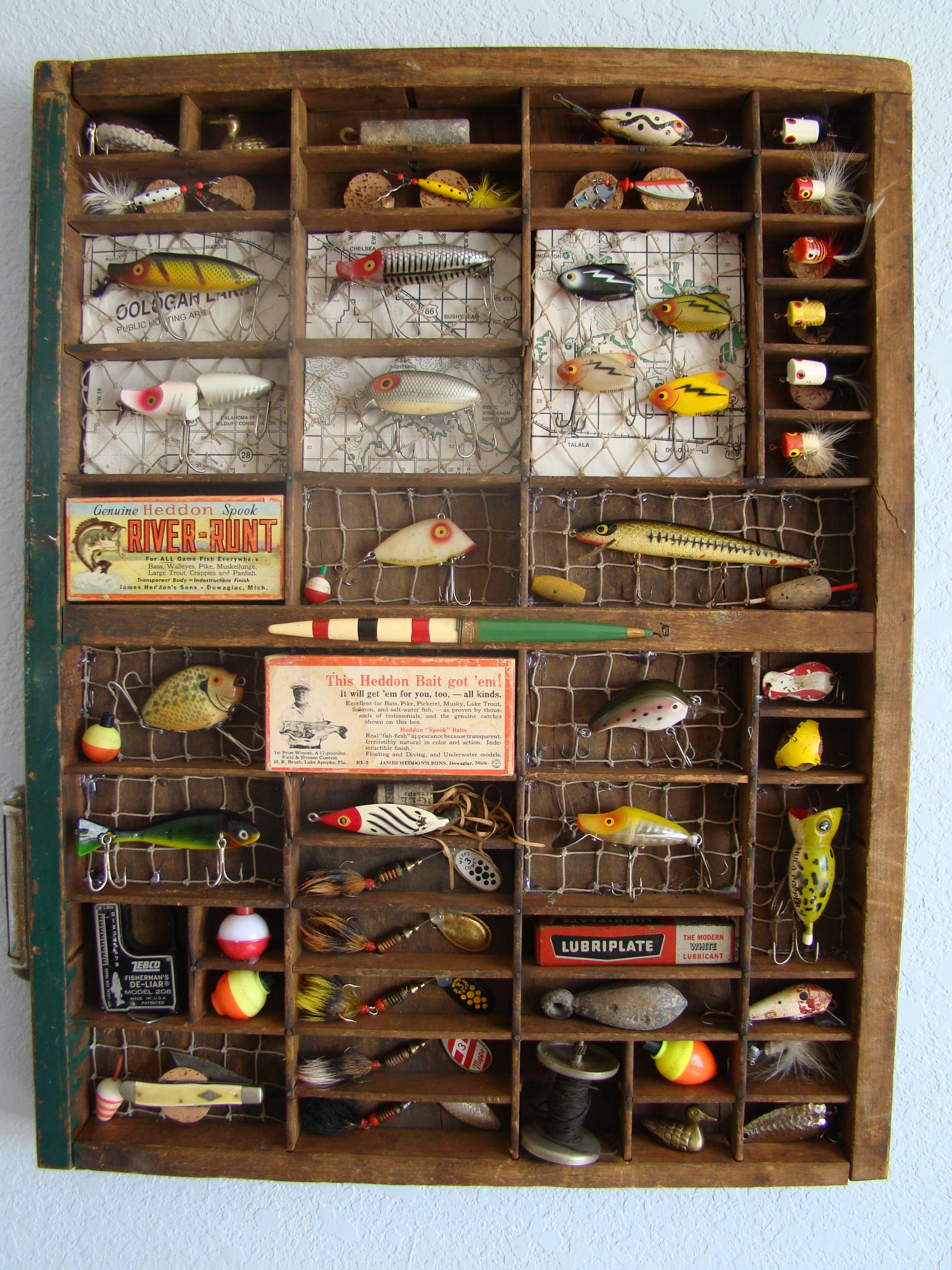 An old printers drawer was the perfect match for some of Grandpa's lures