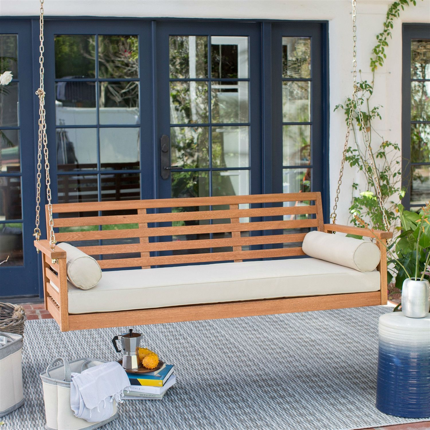 Deep Seat Wood Porch Swing Outdoor Bed With Cushion 2 Bolster Pillows Porch Swing Front Porch Seating Backyard Seating