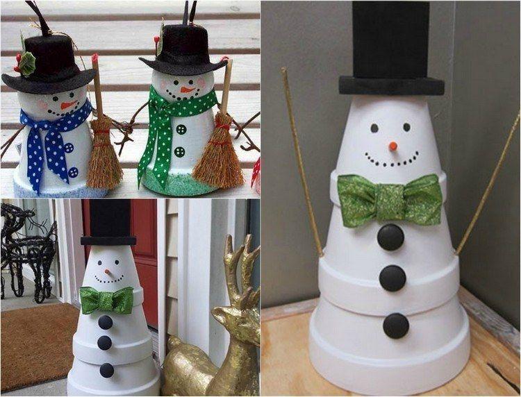 schneemann figuren aus wei lackierten tontpfen selber machen - Weihnachtsdeko Selber Machen