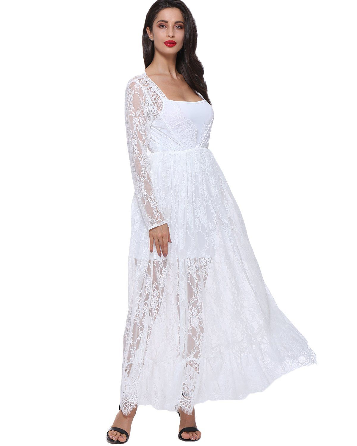 640a7720481 Maternity Fashion - GAMISS Maternity Sexy Lace Beach Dress Deep VNeck Long  Sleeve SeeThrough Maxi Dress White L   Click photo for more information.
