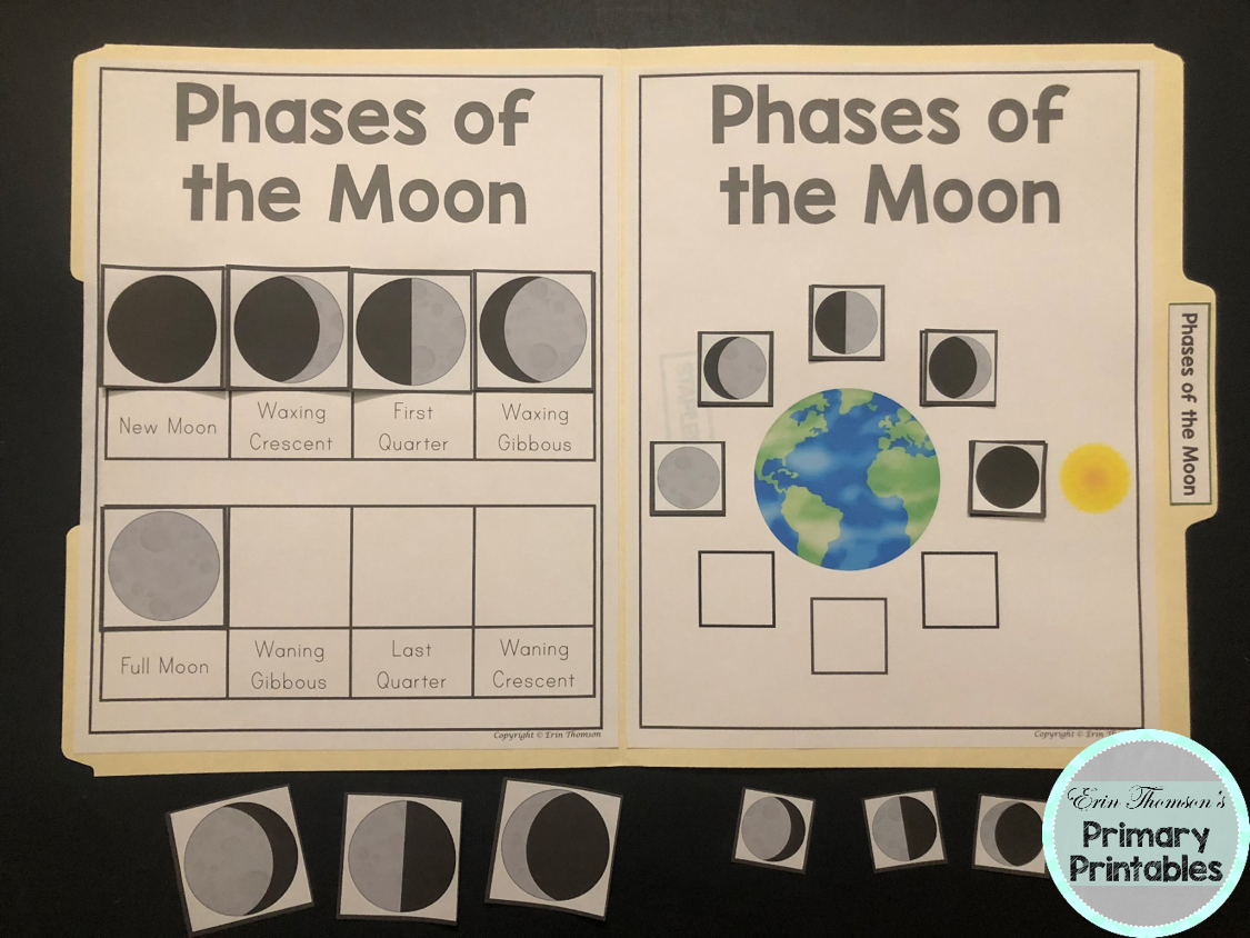 Science File Folder Activity Phases Of The Moon Bonus Eclipse Activity File Folder Activities Moon Phases File Folder Games [ 844 x 1125 Pixel ]