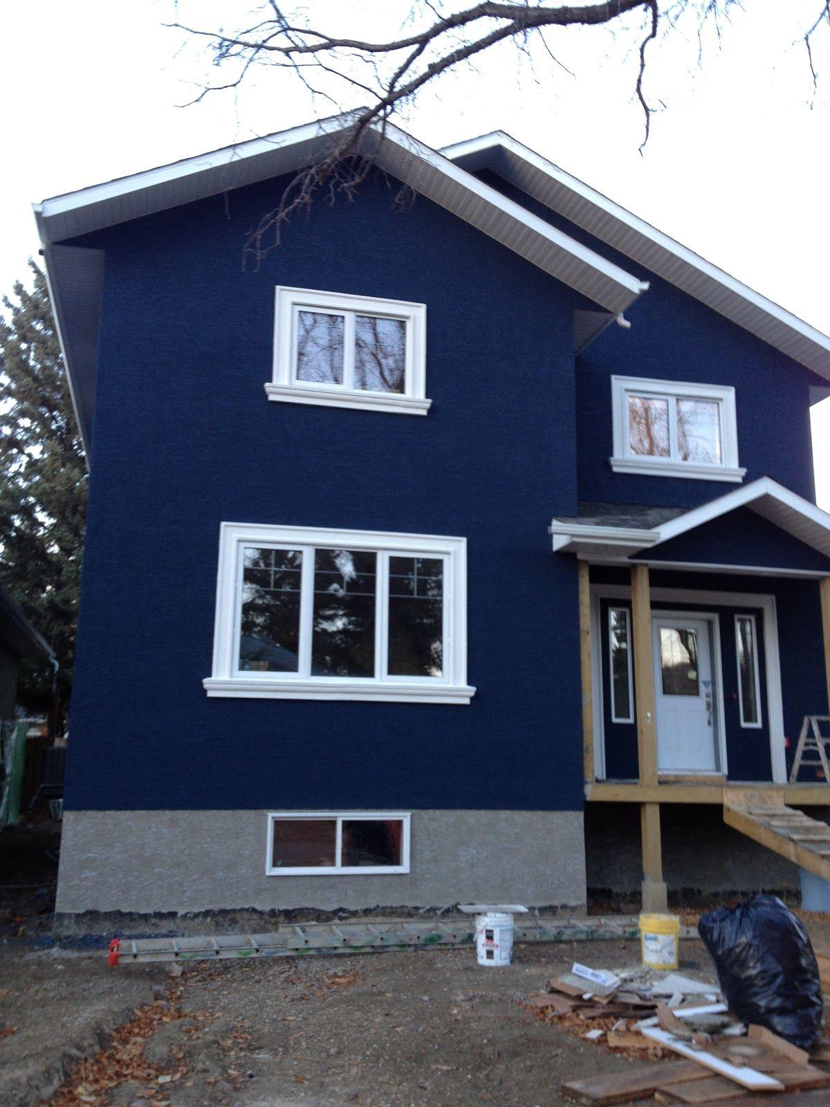 House Dark Blue Stucco Exterior White Trim Google Search