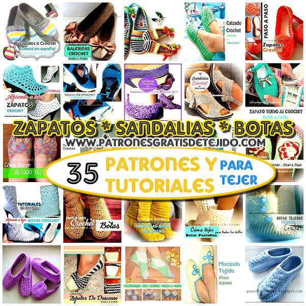 35 tutoriales y patrones de calzado para tejer | TEJIDOS | Pinterest ...
