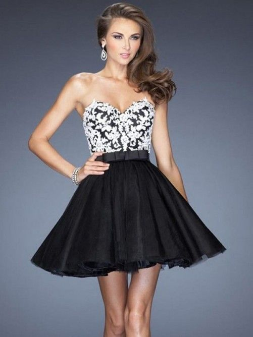 68ba24347 Corte a princesa escote corazón corto mini tul vestido con appliqué ...