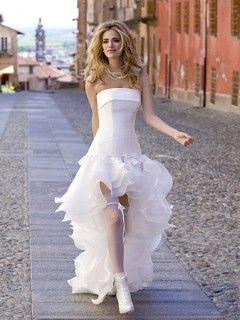 Robe de mariée Organza Originale Bustier Courte devant