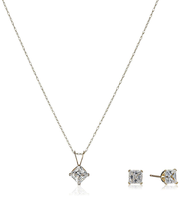 K yellow gold square white swarovski zirconia pendant necklace and