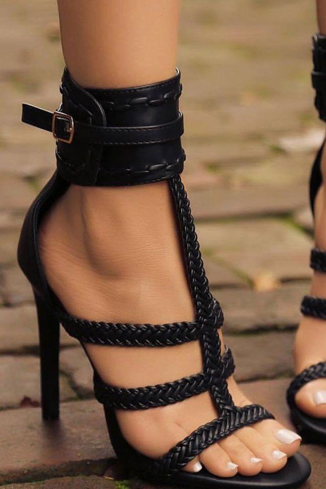 fc7b8291511140 Hottest Black Strappy Heels Designs ☆ See more  http   glaminati.com