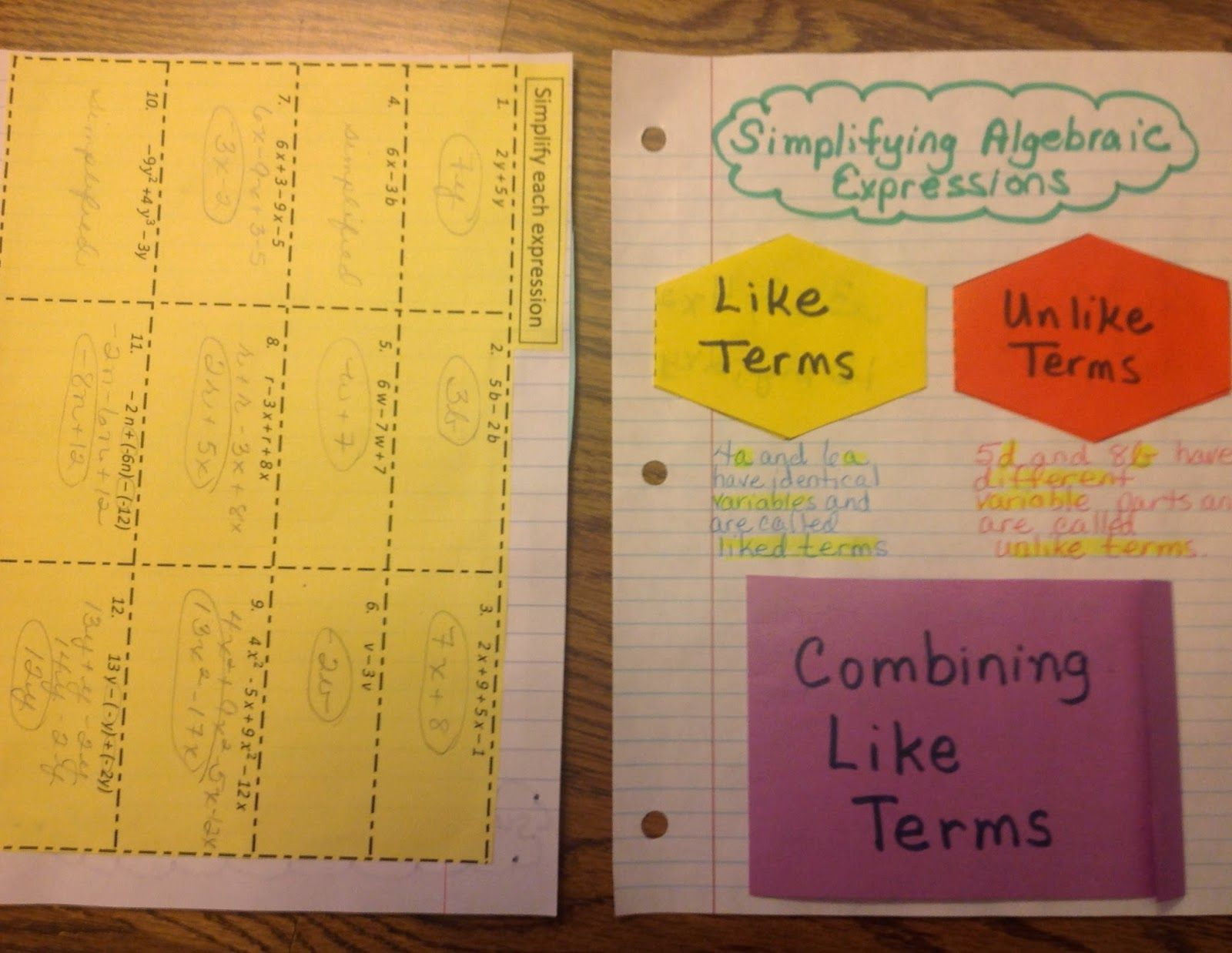 Like Terms Foldable Both Pages