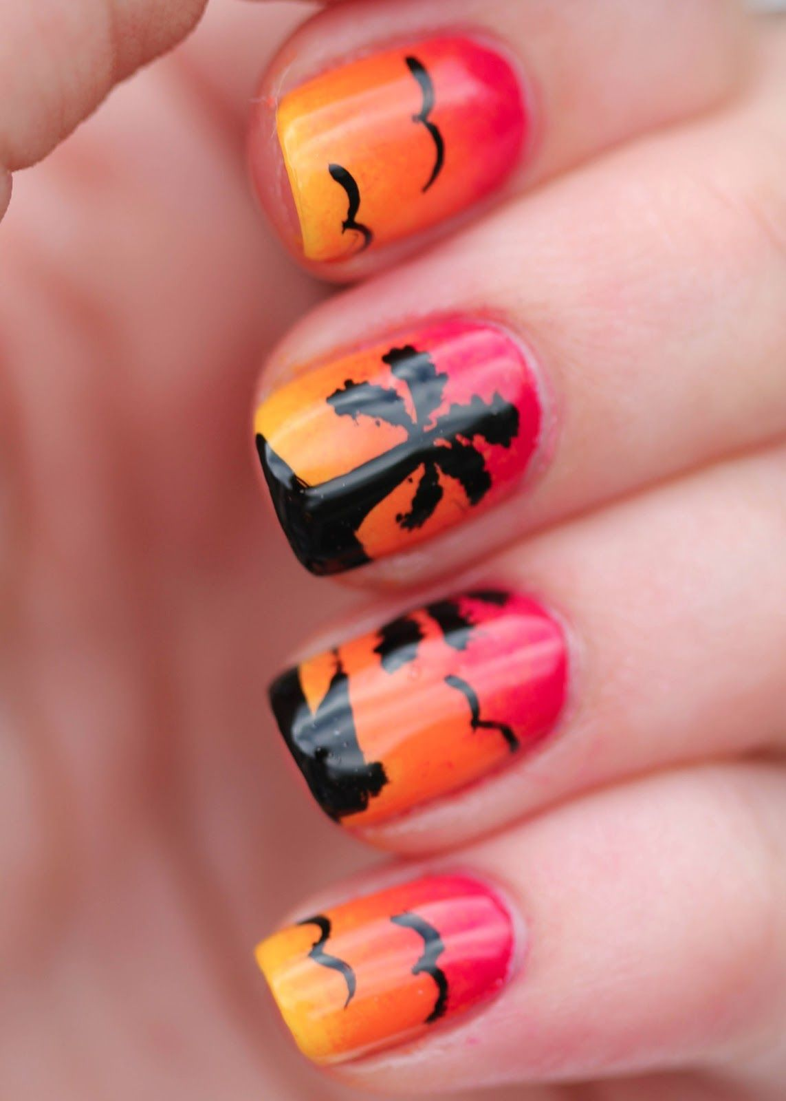 Sunset nail art with palm trees, birds and boat - Sunset Nail Art With Palm Trees, Birds And Boat Nails XII