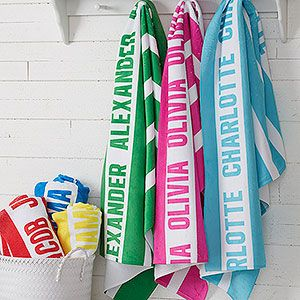 Classic Stripe Personalized 30x60 Beach Towel With Images