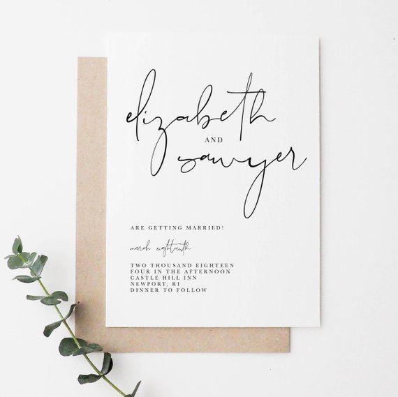 Pin By Anisha On Wedding Invites Simple In 2019: Minimal Wedding Invitation In