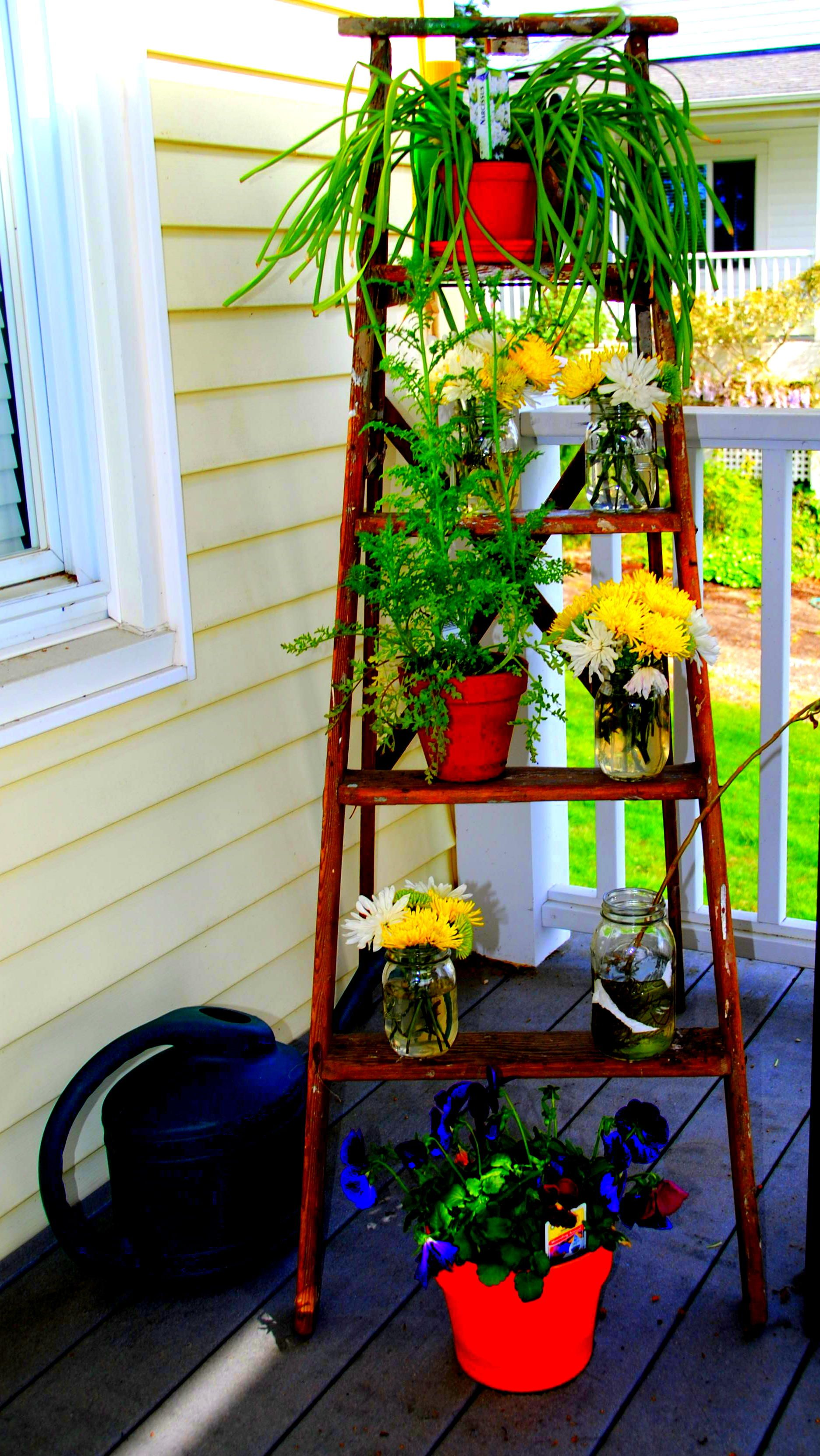 Simple cheap way to keep your flower pots off the deck an old simple cheap way to keep your flower pots off the deck an old wooden ladder izmirmasajfo