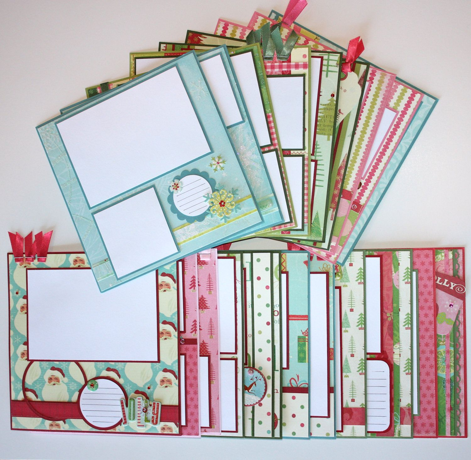 How to scrapbook 8x8 layouts - Christmas Through The Years 8 X 8 Premade Scrapbook Page Layouts 20 90 00