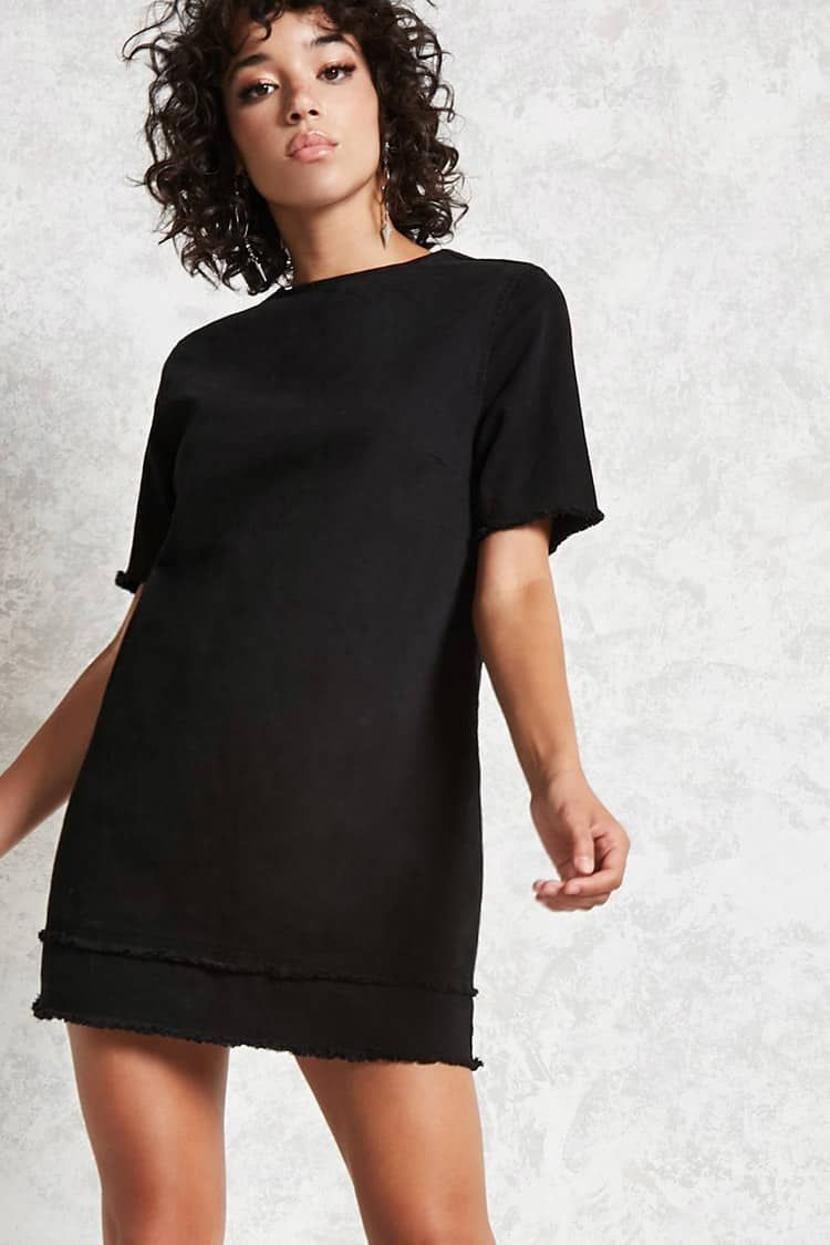 Product Name:Frayed Denim Mini Dress, Category:dress, Price:29.9