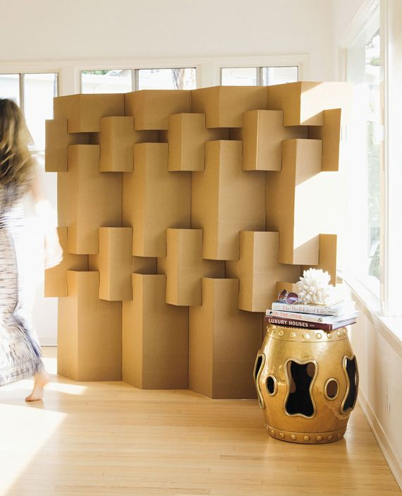 Corrugated Room Divider From The Book Modern Paper Crafts By - Diy cardboard room divider privacy screen
