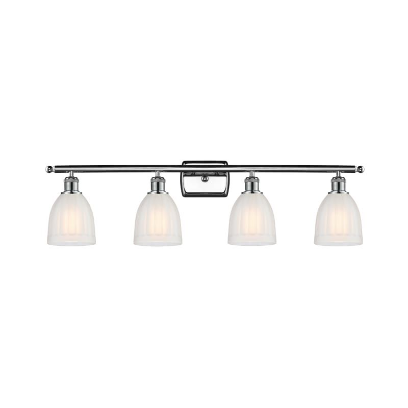 "Photo of Innovations Lighting 516-4W Brookfield Brookfield 4 Light 36 ""Wide Bathroom Vani Polished Chrome / White Interior Lighting Bathroom Faucets Vanity"
