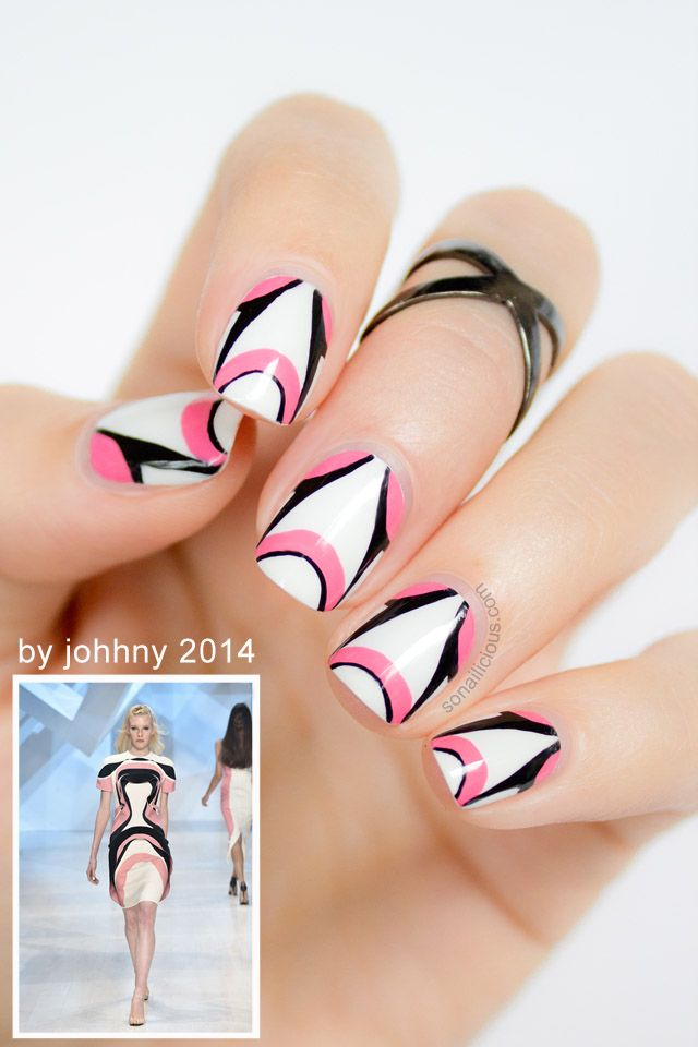 By Johnny 2014 Inspired Futuristic Pink And White Nail Tutorial ...