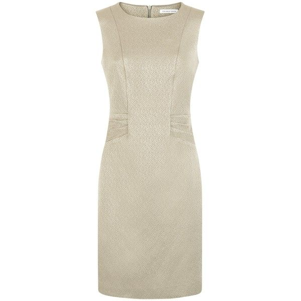 Fenn Wright Manson Renoir Dress , Gold (£84) ❤ liked on Polyvore featuring dresses, gold, knee length dresses, shift dress, sleeved maxi dress, brown dresses and ruched maxi dress