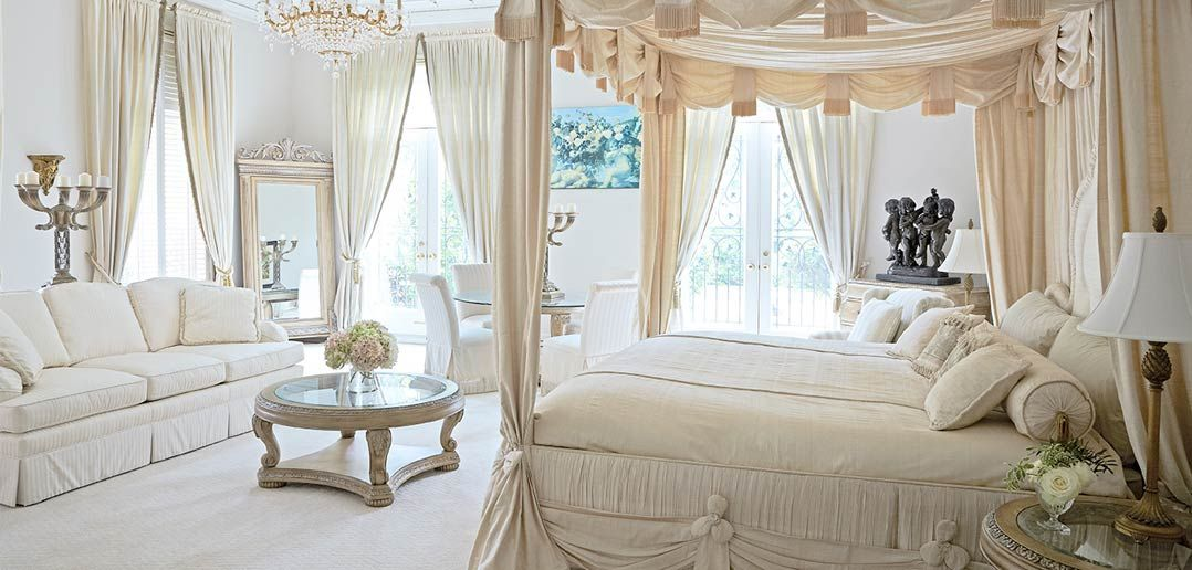 Romantic Bedroom, Soft Whites, Ivory, Cream, French Bed, Canopy.