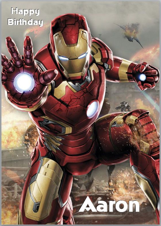 Iron Man Avengers Birthday Card A5 Personalised With Own Wording