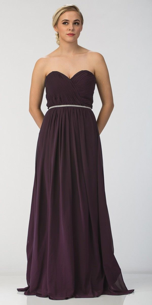 Starbox USA 6175 Strapless Floor Length Formal Dress Ruched Bodice Burgundy