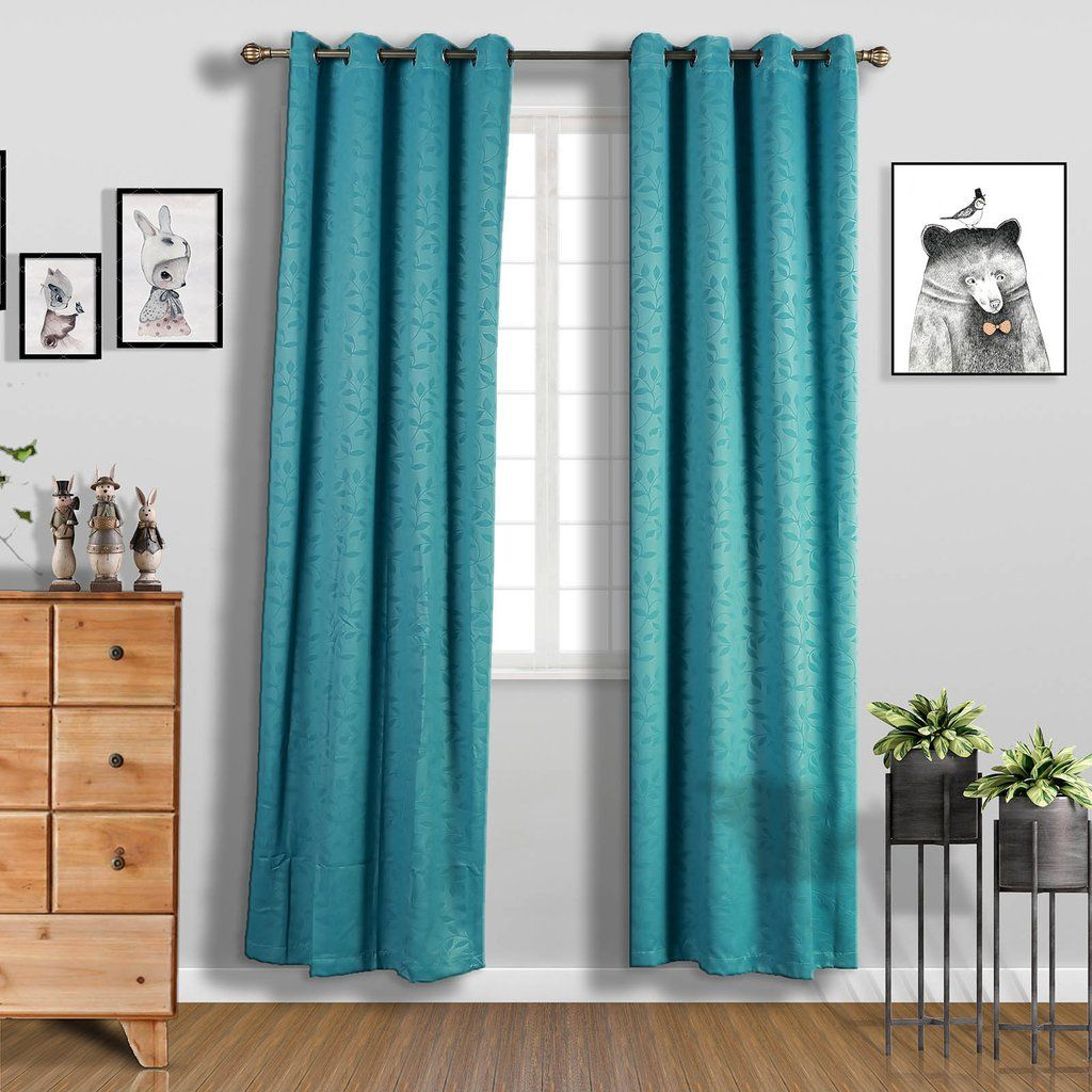 Teal Soundproof Curtains Pack Of 2 Embossed Curtains 52 X 108