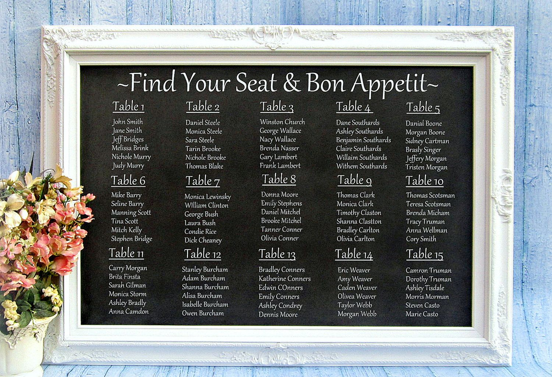 Wedding Seating Chart Ideas Decorations Chalkboard Framed