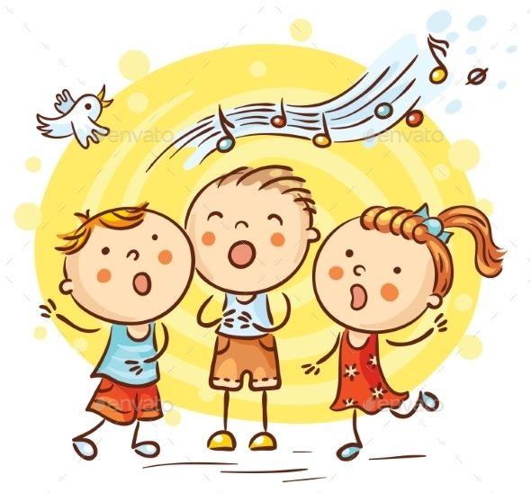 Children Singing Songs Colorful Cartoon Kids Singing Happy Kids Drawing For Kids