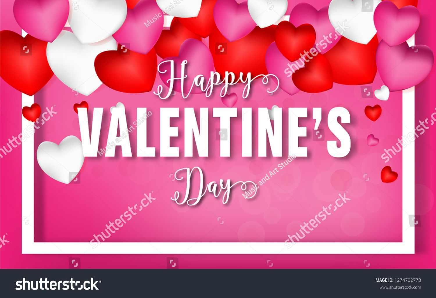 Valentines Day 3d Red Pink White Hearts And Happy Valentines Day Text Background Clip Art Design For Gree Happy Valentines Day Wedding Flyers Happy Valentine