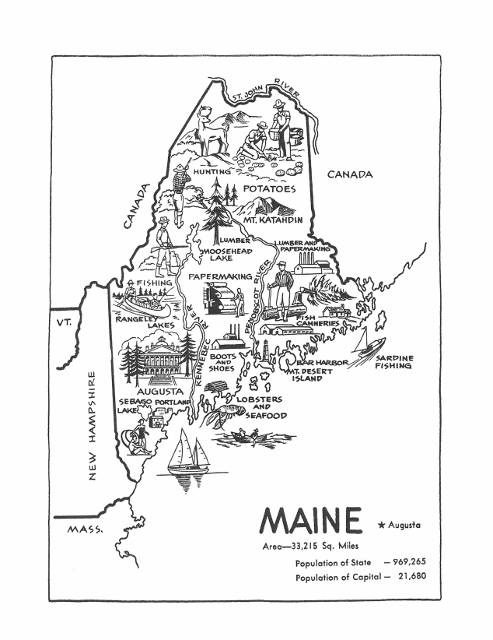 Maine Map Digital Print Printable Map From 1950s State Wall Art