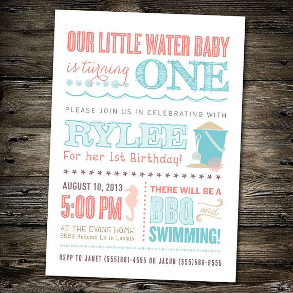 First Birthday Part Invitation Beach Theme Pool Party You Print