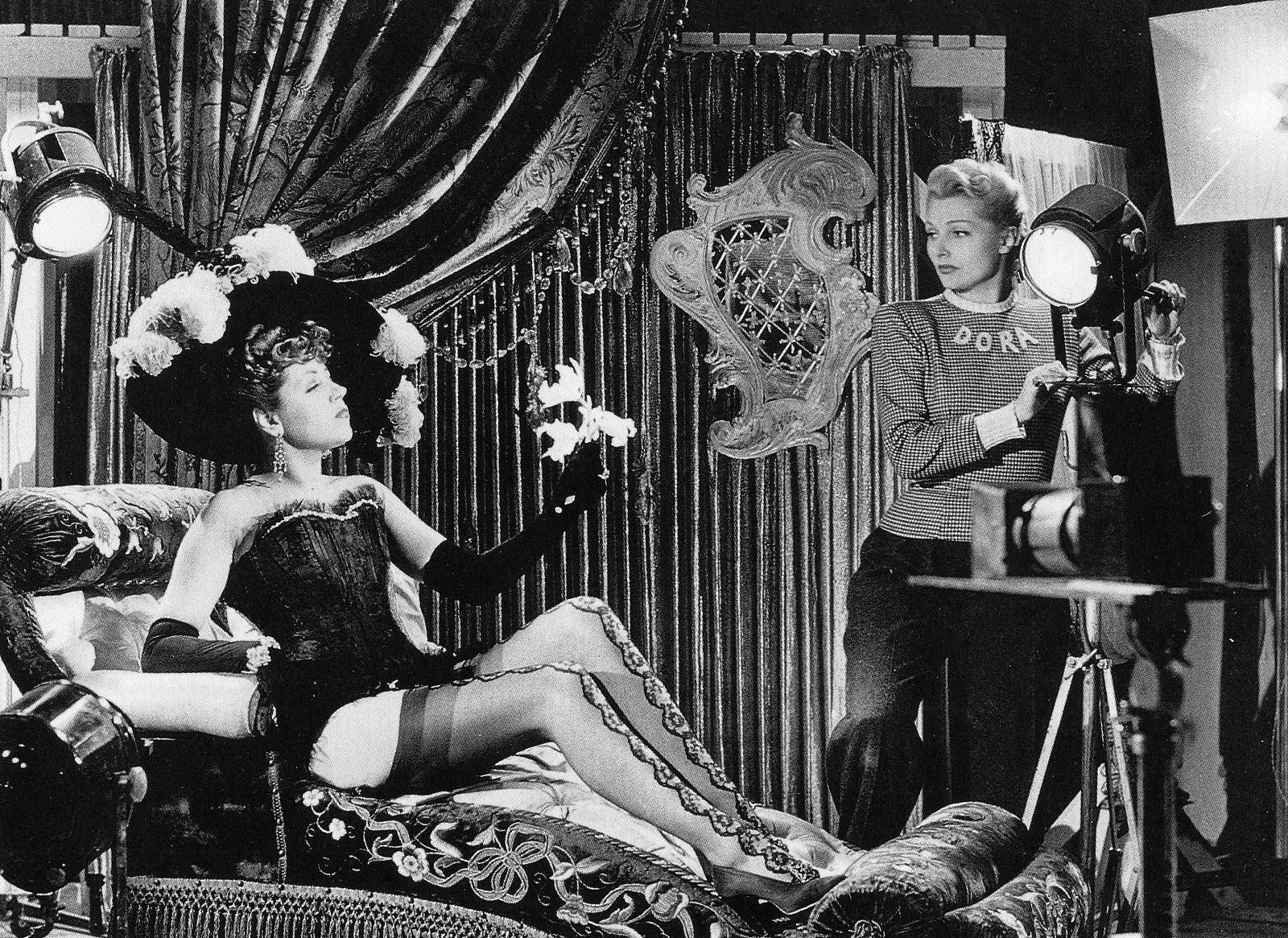 """French actresses Suzy Delair and Simone Renant star in the film """"Quai des  Orfèvres"""" with all of the costumes created by Jacques Fath, 1947 
