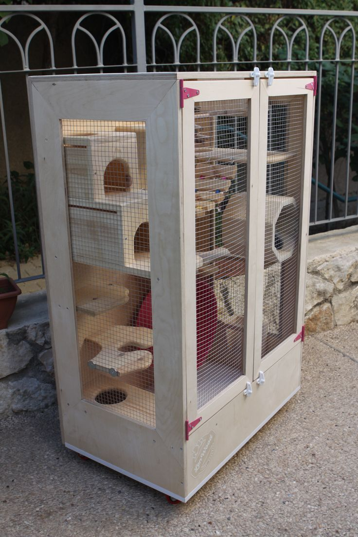 Large, spacious mesh and wood chinchilla cage. | chin chillin ...