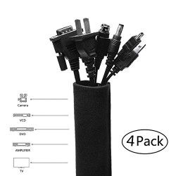Cable Management Sleeve,Wuudi 4 Pack Cord Management System for PC TV Home Office Theater Speaker, 22.5″ Black Neoprene Flexible Cable Sleeve Wrap Cover Cable Cord Organizer