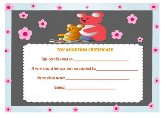 Puppy Adoption Certififcate  Adoption Certificate Template