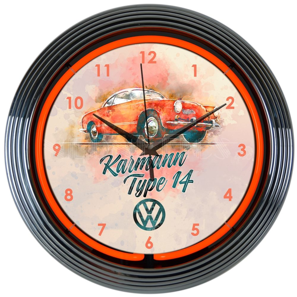 This Vw Karmann Neon Clock Is For Vintage Vw Car Guys The Volkswagen Karmann Ghia Was A Sports Car Coup 1955 1974 And Neon Clock Wall Clock Glass Wall Clock