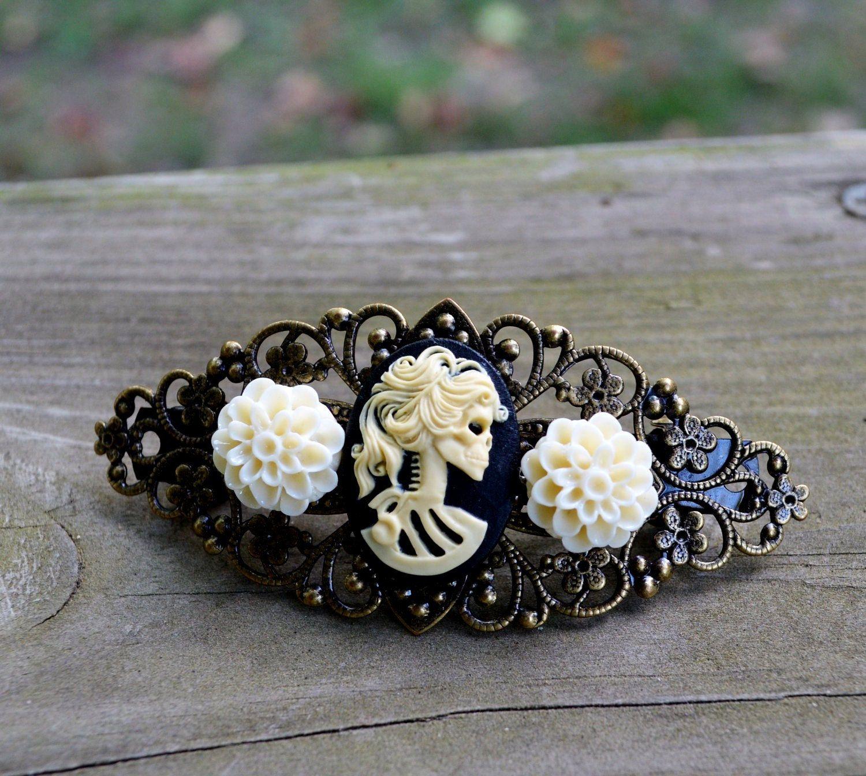 Lolita Skull Cameo Barrette - Gifts Under 25. $8.00, via Etsy.