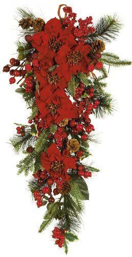 Nearly Natural 4656 Poinsettia Teardrop Wreath Red Green Poinsettia Decor Christmas Swags Christmas Floral