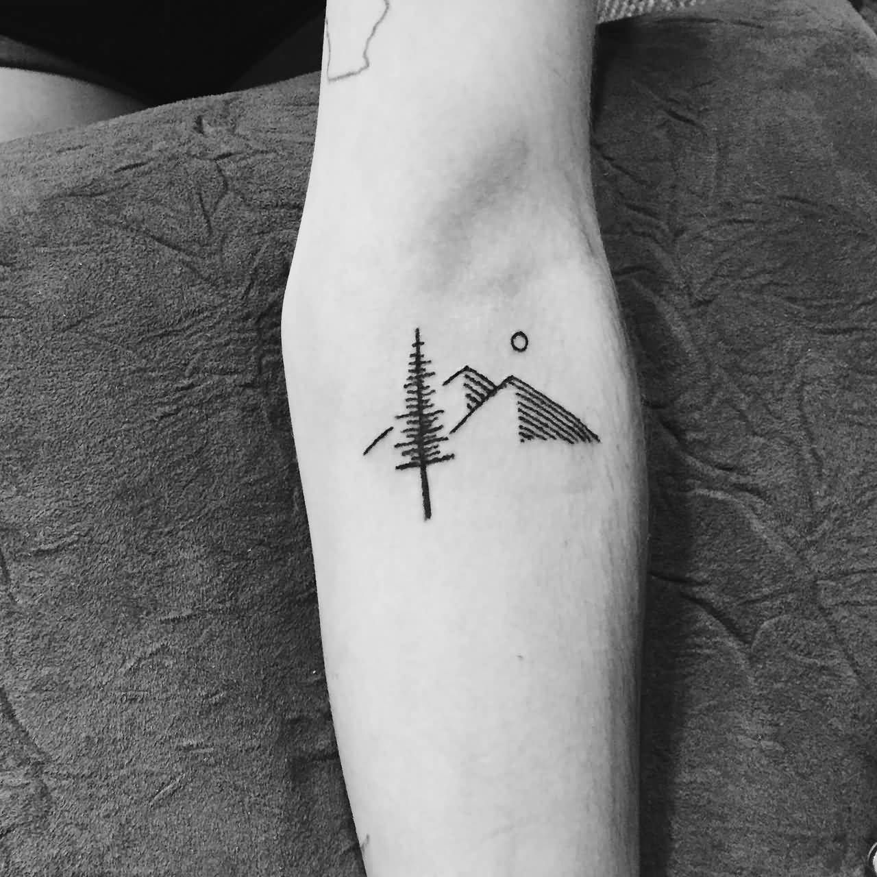 Simple Mountains With Tree Tattoo On Forearm (With images