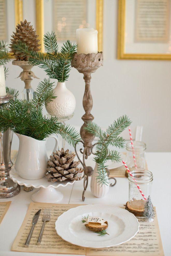 Une d coration de table de no l nature et foresti re a - Decoration de noel theme nature ...