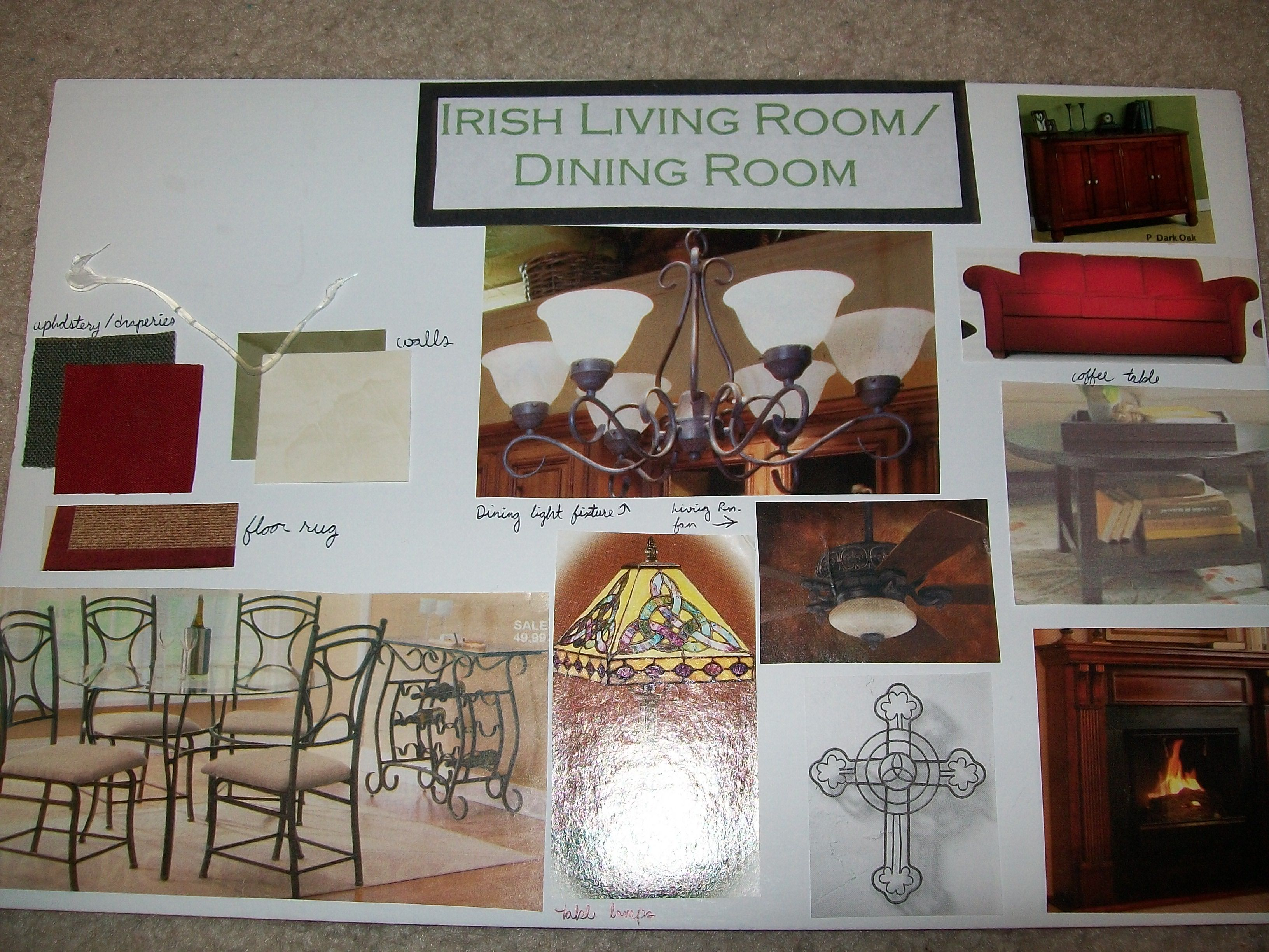 Irish/Celtic themed living room. Designed for an interior design class in high school