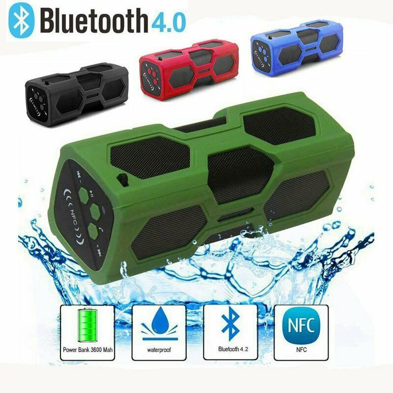 Portable Bluetooth Nfc Speaker Waterproof Power Bank Super Bass Stereo Speakers B Waterproof Bluetooth Speaker Waterproof Speaker Wireless Speakers Bluetooth