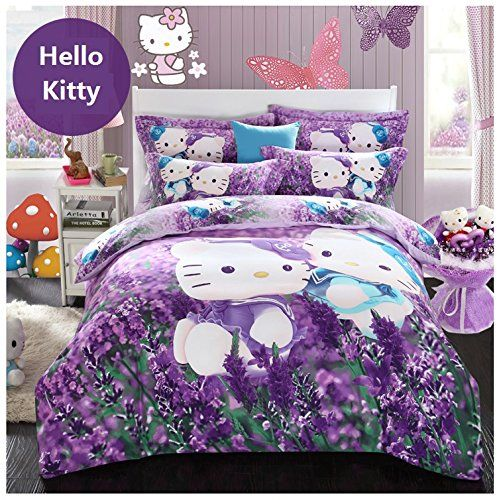 Awesome Brandream Purple Lavender Hello Kitty Bedding Cute Cartoon Kids Bedding Set  Twin Full Queen Size