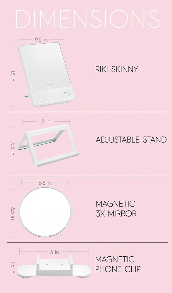 Glamcor Riki Skinny Led Vanity Mirror Led Vanity Riki Mirror With Lights