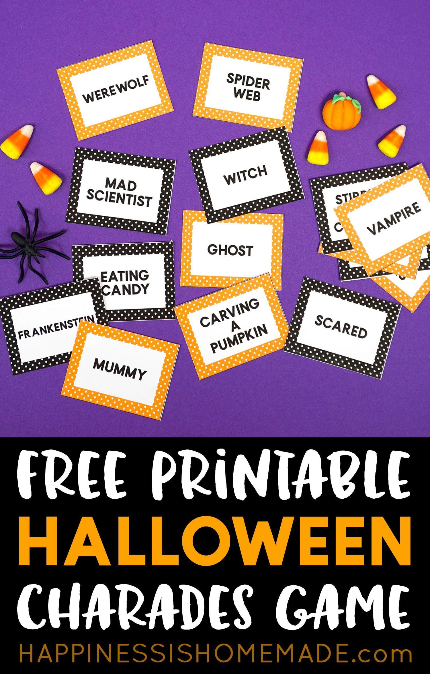 Free Halloween Charades Game Printable This Halloween
