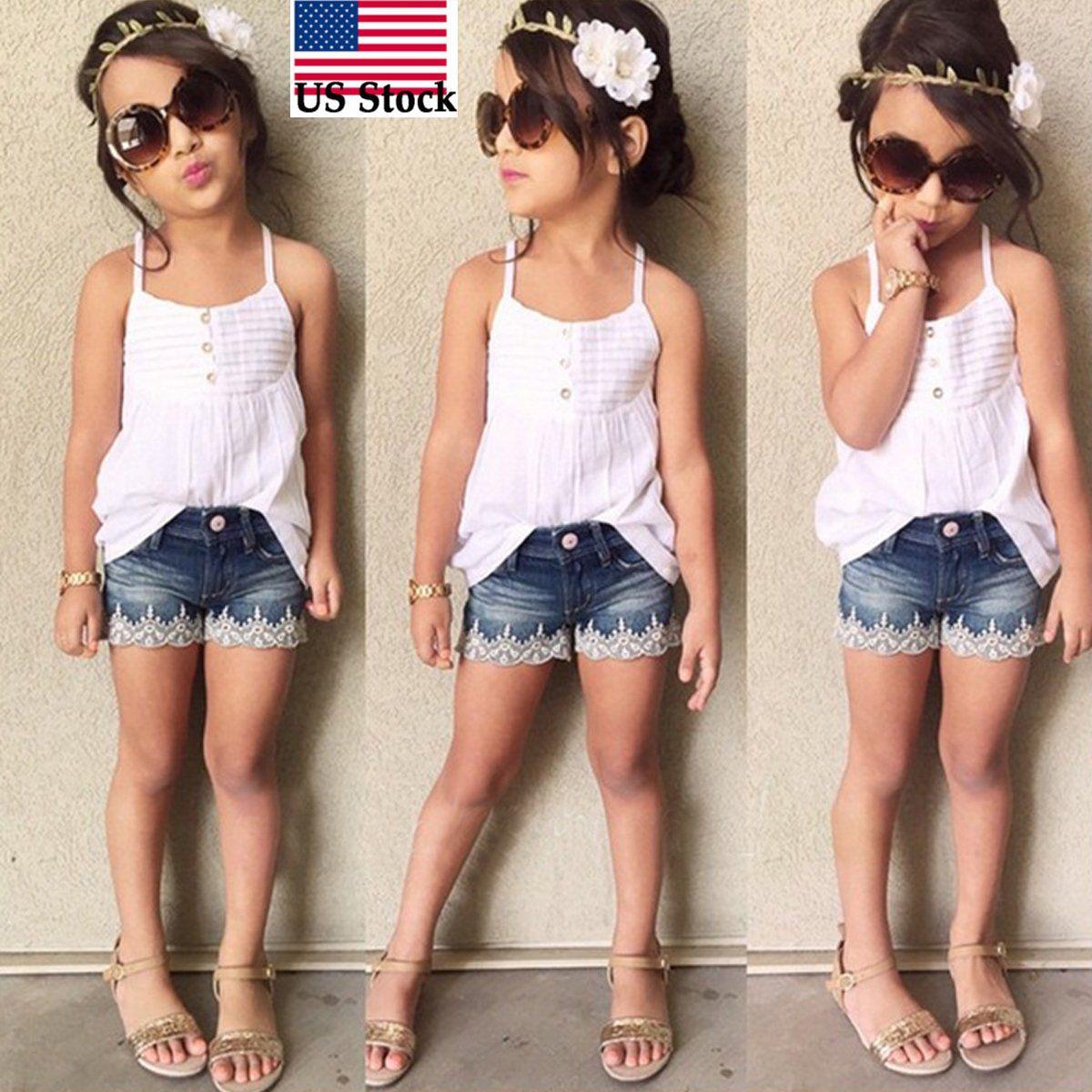 5d675759e 2Pcs Kid Baby Girls Outfits Set Tank Top T-Shirt +Jeans Pants Clothes 2-7Y  Us