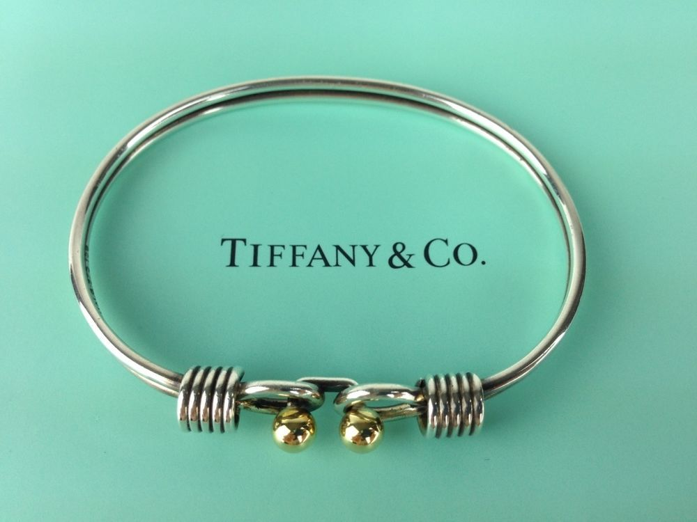 Authentic Tiffany Co Silver Gold Bangle Bracelet 925 K18 750