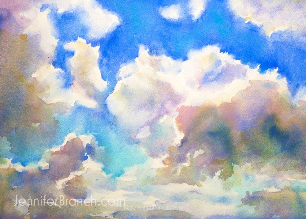 Blue sky sketching watercolor painting tutorial