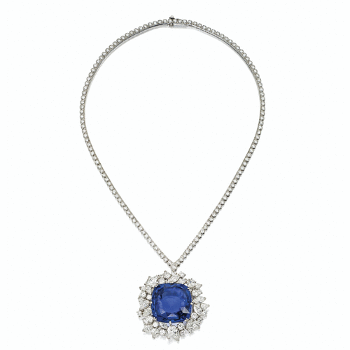SOTHESBY'S MAGNIFICENT JEWELS ~ Sapphire and Diamond Pendant Necklace