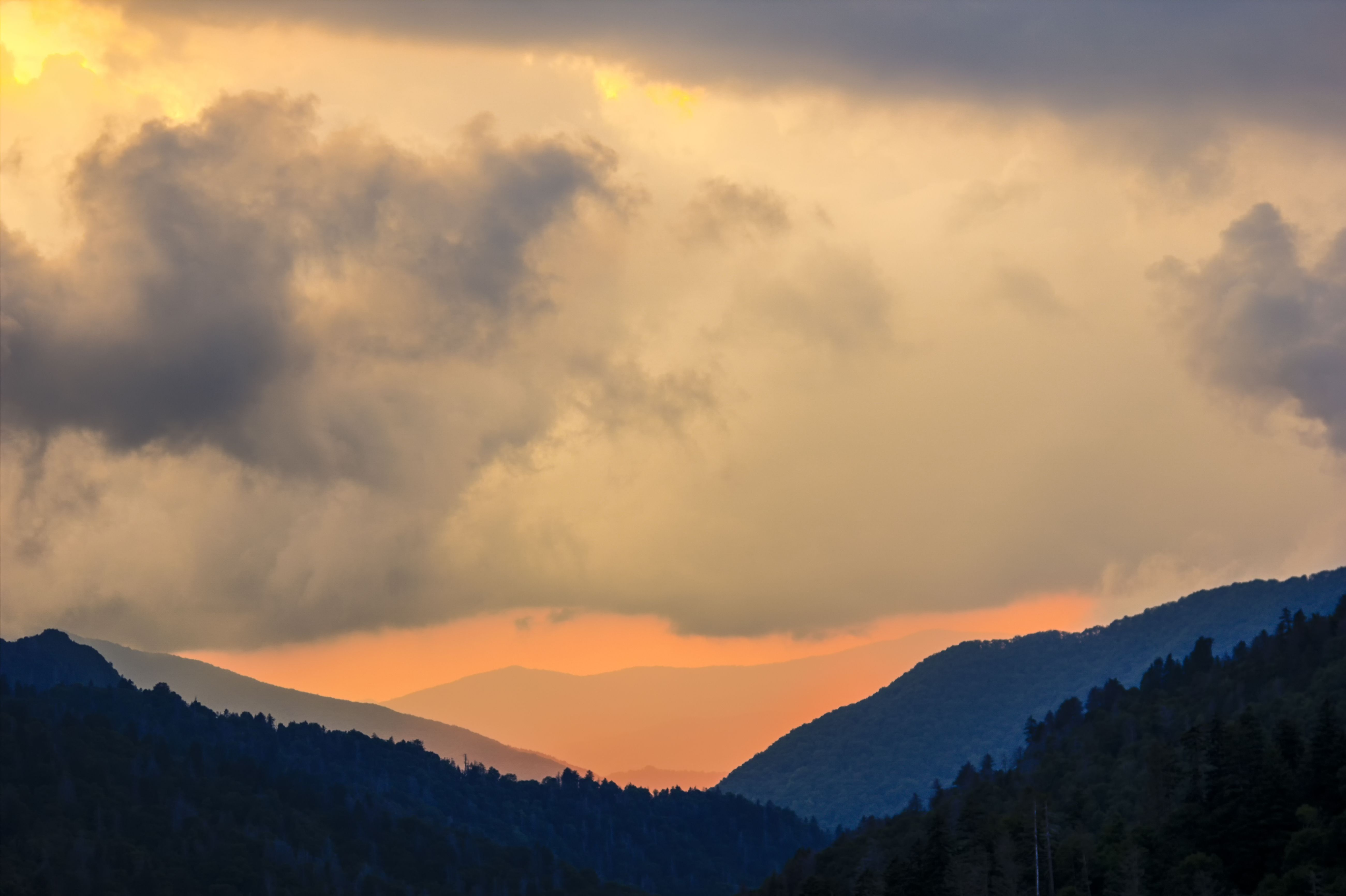 An amazing view of the Great Smoky Mountains National Park at sunset